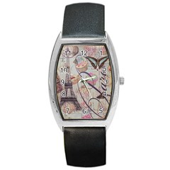 French Pastry Vintage Scripts Floral Scripts Butterfly Eiffel Tower Vintage Paris Fashion Tonneau Leather Watch