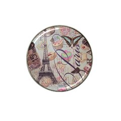 French Pastry Vintage Scripts Floral Scripts Butterfly Eiffel Tower Vintage Paris Fashion Golf Ball Marker (for Hat Clip)