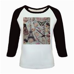 French Pastry Vintage Scripts Floral Scripts Butterfly Eiffel Tower Vintage Paris Fashion Women s Long Cap Sleeve T-Shirt