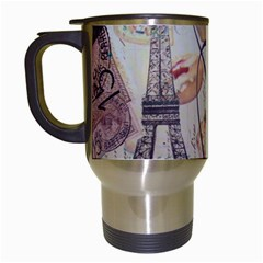 French Pastry Vintage Scripts Floral Scripts Butterfly Eiffel Tower Vintage Paris Fashion Travel Mug (White)