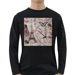 French Pastry Vintage Scripts Floral Scripts Butterfly Eiffel Tower Vintage Paris Fashion Mens' Long Sleeve T-shirt (Dark Colored)
