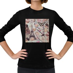 French Pastry Vintage Scripts Floral Scripts Butterfly Eiffel Tower Vintage Paris Fashion Womens' Long Sleeve T-shirt (Dark Colored)