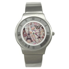 French Pastry Vintage Scripts Floral Scripts Butterfly Eiffel Tower Vintage Paris Fashion Stainless Steel Watch (Unisex)