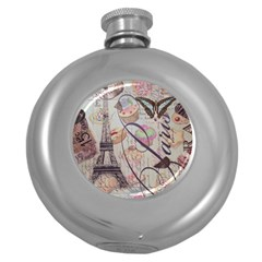 French Pastry Vintage Scripts Floral Scripts Butterfly Eiffel Tower Vintage Paris Fashion Hip Flask (Round)
