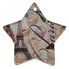 French Pastry Vintage Scripts Floral Scripts Butterfly Eiffel Tower Vintage Paris Fashion Star Ornament (Two Sides)