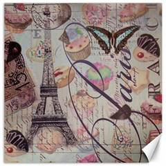 French Pastry Vintage Scripts Floral Scripts Butterfly Eiffel Tower Vintage Paris Fashion Canvas 12  X 12  (unframed)