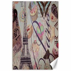 French Pastry Vintage Scripts Floral Scripts Butterfly Eiffel Tower Vintage Paris Fashion Canvas 24  x 36  (Unframed)