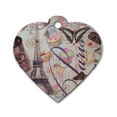 French Pastry Vintage Scripts Floral Scripts Butterfly Eiffel Tower Vintage Paris Fashion Dog Tag Heart (one Sided)