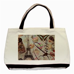 French Pastry Vintage Scripts Floral Scripts Butterfly Eiffel Tower Vintage Paris Fashion Twin-sided Black Tote Bag