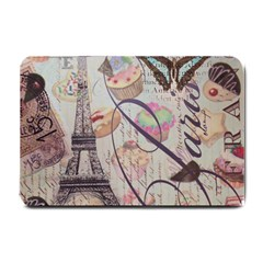 French Pastry Vintage Scripts Floral Scripts Butterfly Eiffel Tower Vintage Paris Fashion Small Door Mat