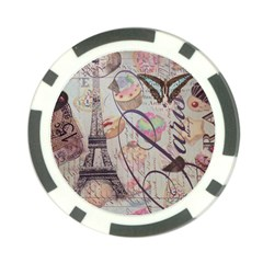 French Pastry Vintage Scripts Floral Scripts Butterfly Eiffel Tower Vintage Paris Fashion Poker Chip