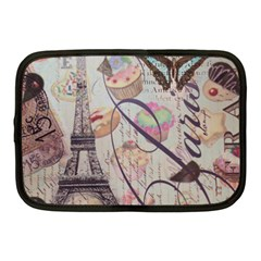 French Pastry Vintage Scripts Floral Scripts Butterfly Eiffel Tower Vintage Paris Fashion Netbook Case (medium)