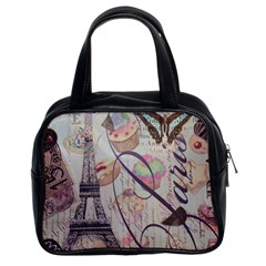 French Pastry Vintage Scripts Floral Scripts Butterfly Eiffel Tower Vintage Paris Fashion Classic Handbag (Two Sides)