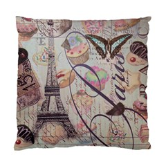 French Pastry Vintage Scripts Floral Scripts Butterfly Eiffel Tower Vintage Paris Fashion Cushion Case (Two Sided)