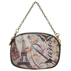 French Pastry Vintage Scripts Floral Scripts Butterfly Eiffel Tower Vintage Paris Fashion Chain Purse (two Sided)