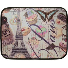 French Pastry Vintage Scripts Floral Scripts Butterfly Eiffel Tower Vintage Paris Fashion Mini Fleece Blanket (Two Sided)