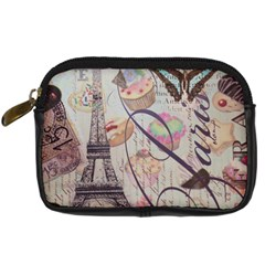 French Pastry Vintage Scripts Floral Scripts Butterfly Eiffel Tower Vintage Paris Fashion Digital Camera Leather Case