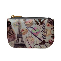 French Pastry Vintage Scripts Floral Scripts Butterfly Eiffel Tower Vintage Paris Fashion Coin Change Purse