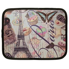 French Pastry Vintage Scripts Floral Scripts Butterfly Eiffel Tower Vintage Paris Fashion Netbook Case (XXL)