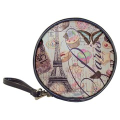 French Pastry Vintage Scripts Floral Scripts Butterfly Eiffel Tower Vintage Paris Fashion Cd Wallet