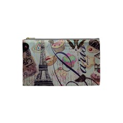 French Pastry Vintage Scripts Floral Scripts Butterfly Eiffel Tower Vintage Paris Fashion Cosmetic Bag (Small)