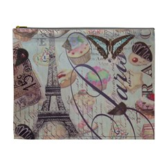 French Pastry Vintage Scripts Floral Scripts Butterfly Eiffel Tower Vintage Paris Fashion Cosmetic Bag (XL)