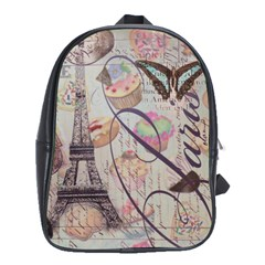 French Pastry Vintage Scripts Floral Scripts Butterfly Eiffel Tower Vintage Paris Fashion School Bag (Large)