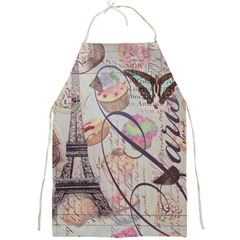 French Pastry Vintage Scripts Floral Scripts Butterfly Eiffel Tower Vintage Paris Fashion Apron