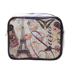 French Pastry Vintage Scripts Floral Scripts Butterfly Eiffel Tower Vintage Paris Fashion Mini Travel Toiletry Bag (one Side)