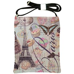 French Pastry Vintage Scripts Floral Scripts Butterfly Eiffel Tower Vintage Paris Fashion Shoulder Sling Bag