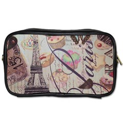 French Pastry Vintage Scripts Floral Scripts Butterfly Eiffel Tower Vintage Paris Fashion Travel Toiletry Bag (One Side)
