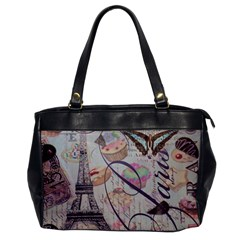 French Pastry Vintage Scripts Floral Scripts Butterfly Eiffel Tower Vintage Paris Fashion Oversize Office Handbag (one Side)