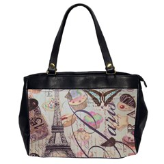 French Pastry Vintage Scripts Floral Scripts Butterfly Eiffel Tower Vintage Paris Fashion Oversize Office Handbag (Two Sides)
