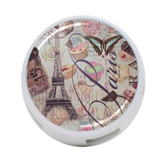 French Pastry Vintage Scripts Floral Scripts Butterfly Eiffel Tower Vintage Paris Fashion 4 Port Usb Hub (one Side)