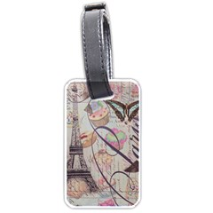 French Pastry Vintage Scripts Floral Scripts Butterfly Eiffel Tower Vintage Paris Fashion Luggage Tag (One Side)