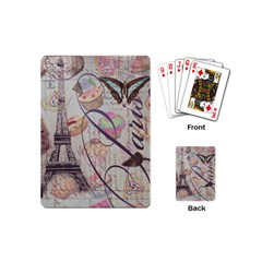 French Pastry Vintage Scripts Floral Scripts Butterfly Eiffel Tower Vintage Paris Fashion Playing Cards (Mini)