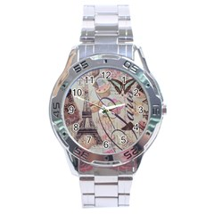 French Pastry Vintage Scripts Floral Scripts Butterfly Eiffel Tower Vintage Paris Fashion Stainless Steel Watch (Men s)