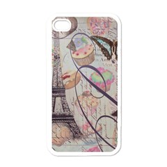 French Pastry Vintage Scripts Floral Scripts Butterfly Eiffel Tower Vintage Paris Fashion Apple Iphone 4 Case (white)