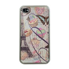 French Pastry Vintage Scripts Floral Scripts Butterfly Eiffel Tower Vintage Paris Fashion Apple iPhone 4 Case (Clear)