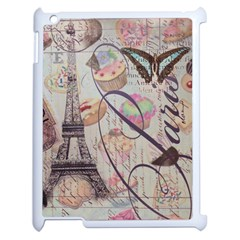 French Pastry Vintage Scripts Floral Scripts Butterfly Eiffel Tower Vintage Paris Fashion Apple Ipad 2 Case (white)