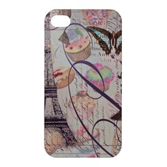 French Pastry Vintage Scripts Floral Scripts Butterfly Eiffel Tower Vintage Paris Fashion Apple Iphone 4/4s Hardshell Case