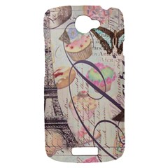 French Pastry Vintage Scripts Floral Scripts Butterfly Eiffel Tower Vintage Paris Fashion HTC One S Hardshell Case
