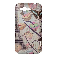 French Pastry Vintage Scripts Floral Scripts Butterfly Eiffel Tower Vintage Paris Fashion HTC Rhyme Hardshell Case