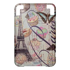French Pastry Vintage Scripts Floral Scripts Butterfly Eiffel Tower Vintage Paris Fashion Kindle 3 Keyboard 3G Hardshell Case