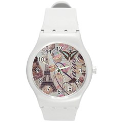 French Pastry Vintage Scripts Floral Scripts Butterfly Eiffel Tower Vintage Paris Fashion Plastic Sport Watch (medium)