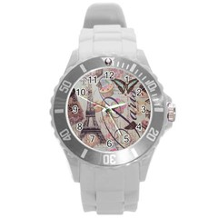 French Pastry Vintage Scripts Floral Scripts Butterfly Eiffel Tower Vintage Paris Fashion Plastic Sport Watch (Large)