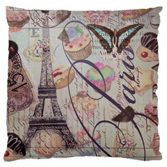 French Pastry Vintage Scripts Floral Scripts Butterfly Eiffel Tower Vintage Paris Fashion Large Cushion Case (two Sided)