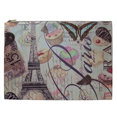 French Pastry Vintage Scripts Floral Scripts Butterfly Eiffel Tower Vintage Paris Fashion Cosmetic Bag (xxl)