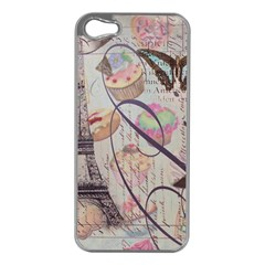 French Pastry Vintage Scripts Floral Scripts Butterfly Eiffel Tower Vintage Paris Fashion Apple iPhone 5 Case (Silver)