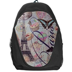 French Pastry Vintage Scripts Floral Scripts Butterfly Eiffel Tower Vintage Paris Fashion Backpack Bag
